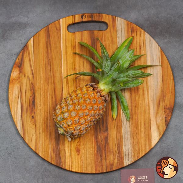 Thớt gỗ Teak Chef Studio hình tròn có tay nắm 45x1,4 cm